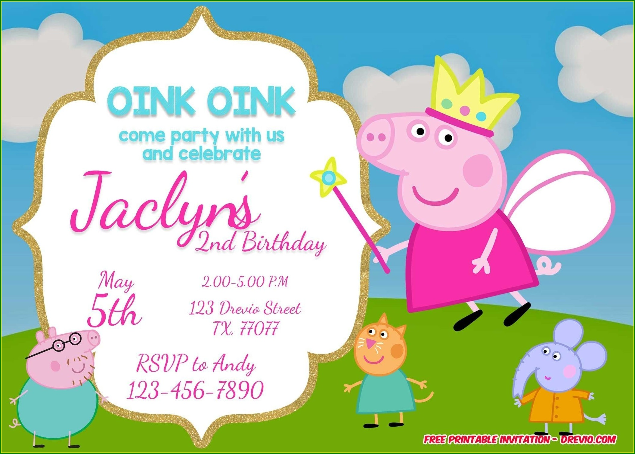 Free Customized Peppa Pig Birthday Invitations