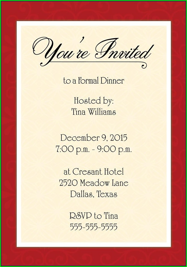 Free Dinner Invitation Template