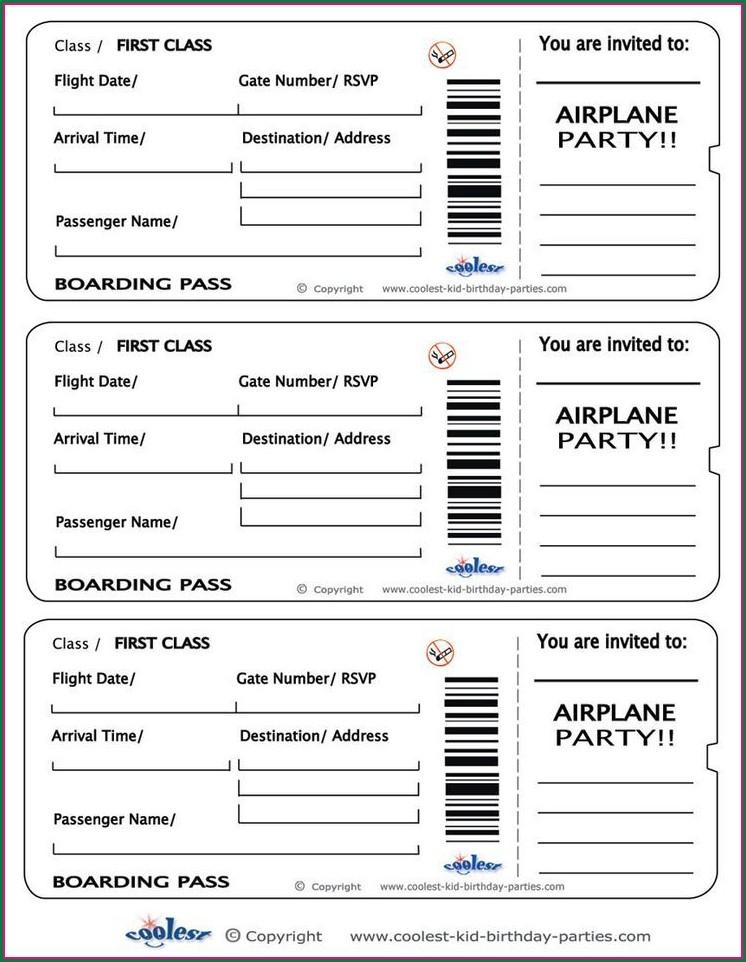 Free Editable Boarding Pass Invitation Template