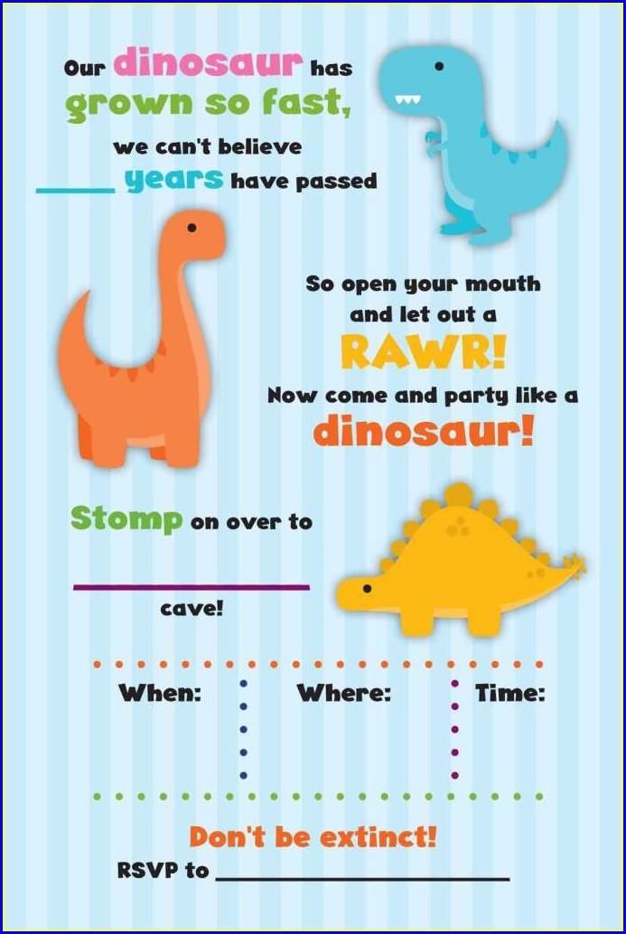 Free Editable Dinosaur Birthday Invitations