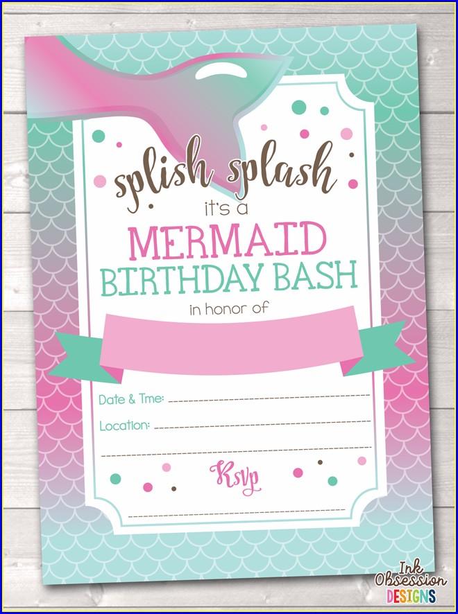 Free Editable Mermaid Birthday Invitations