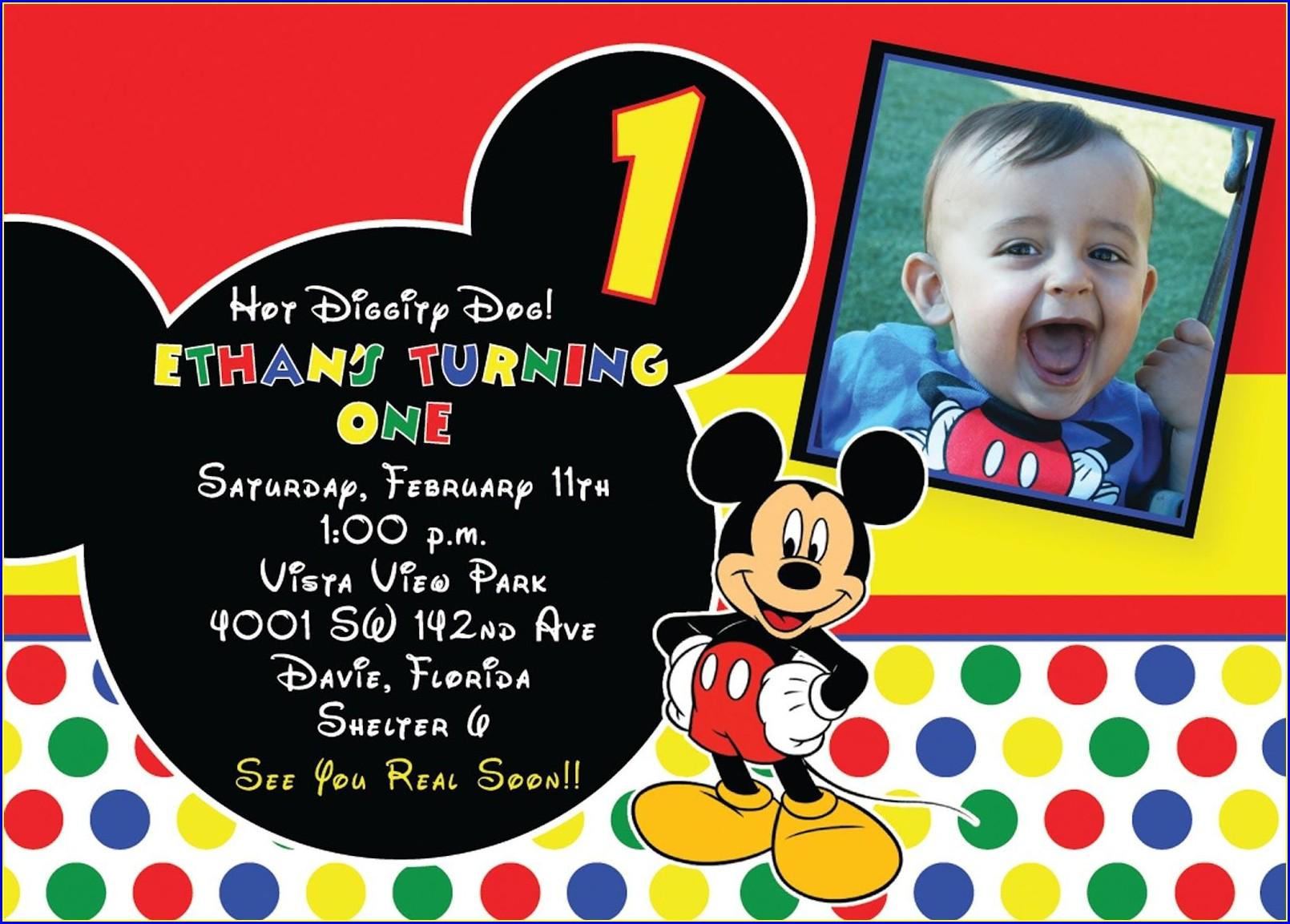 Free Editable Mickey Mouse Birthday Invitations