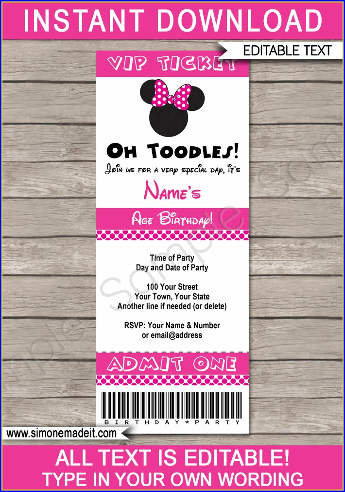 Free Editable Minnie Mouse Invitations