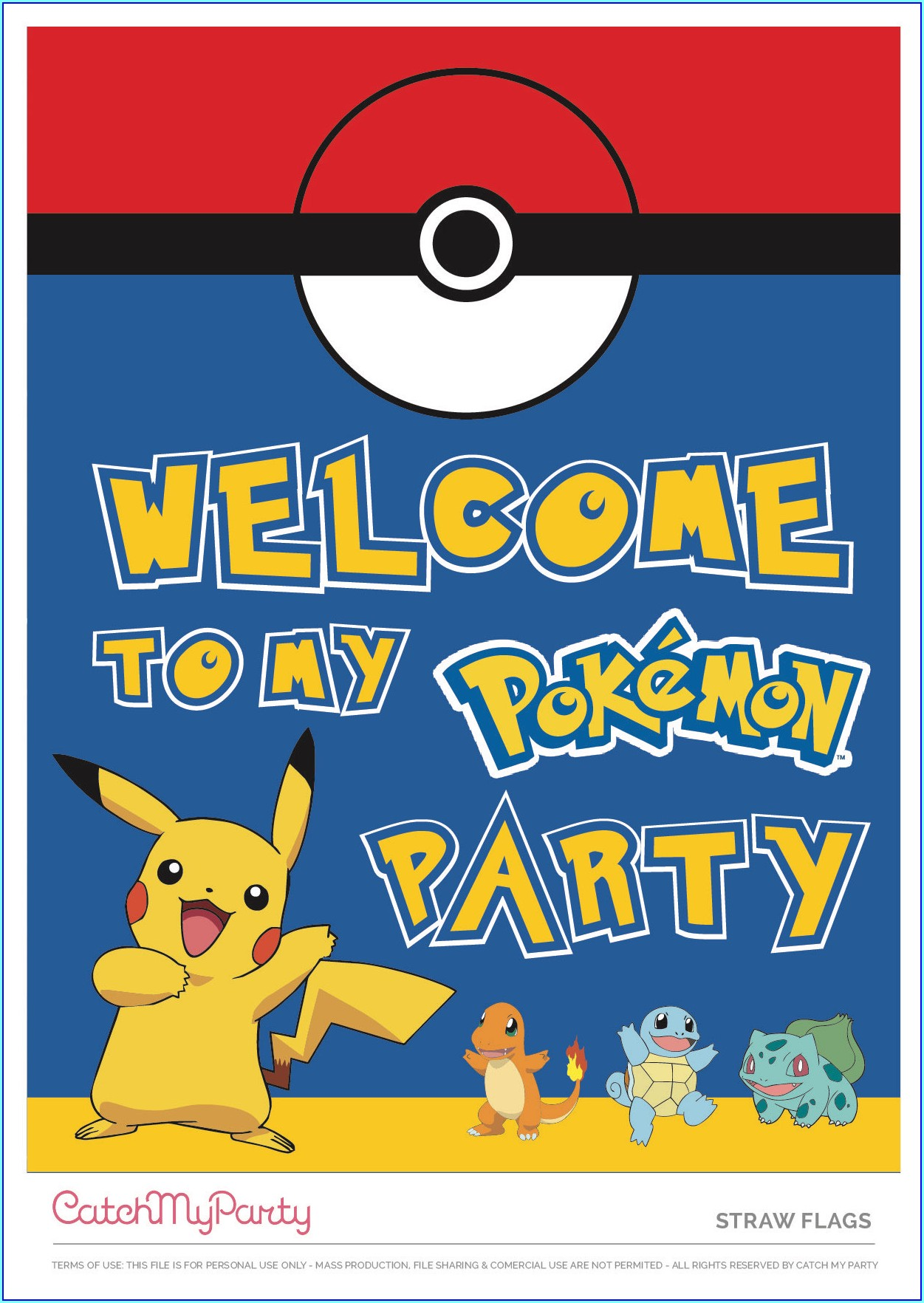 Free Editable Pokemon Birthday Invitations