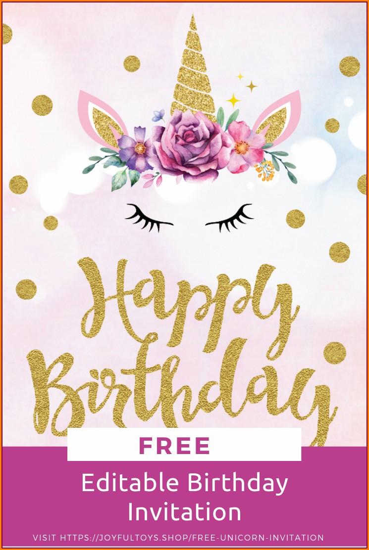 Free Editable Unicorn Invitation With Picture