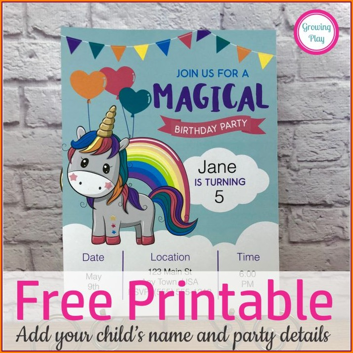 Free Editable Unicorn Invitation