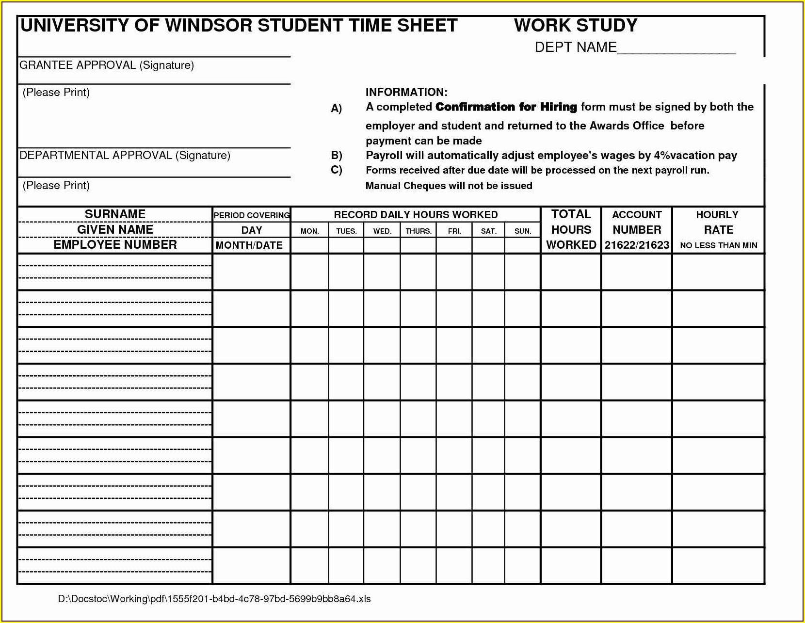 Free Excel Time Study Worksheet