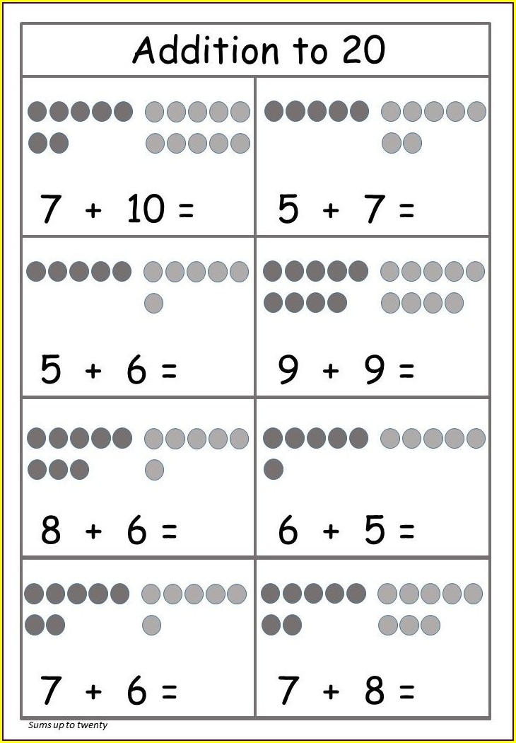 Free Math Worksheets Addition To 20