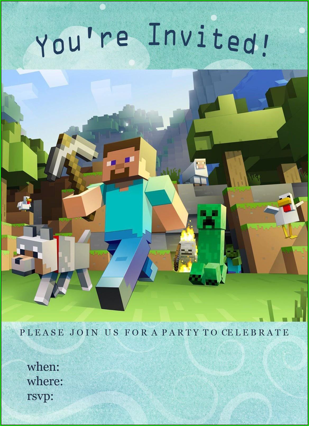 Free Minecraft Birthday Invitations Templates