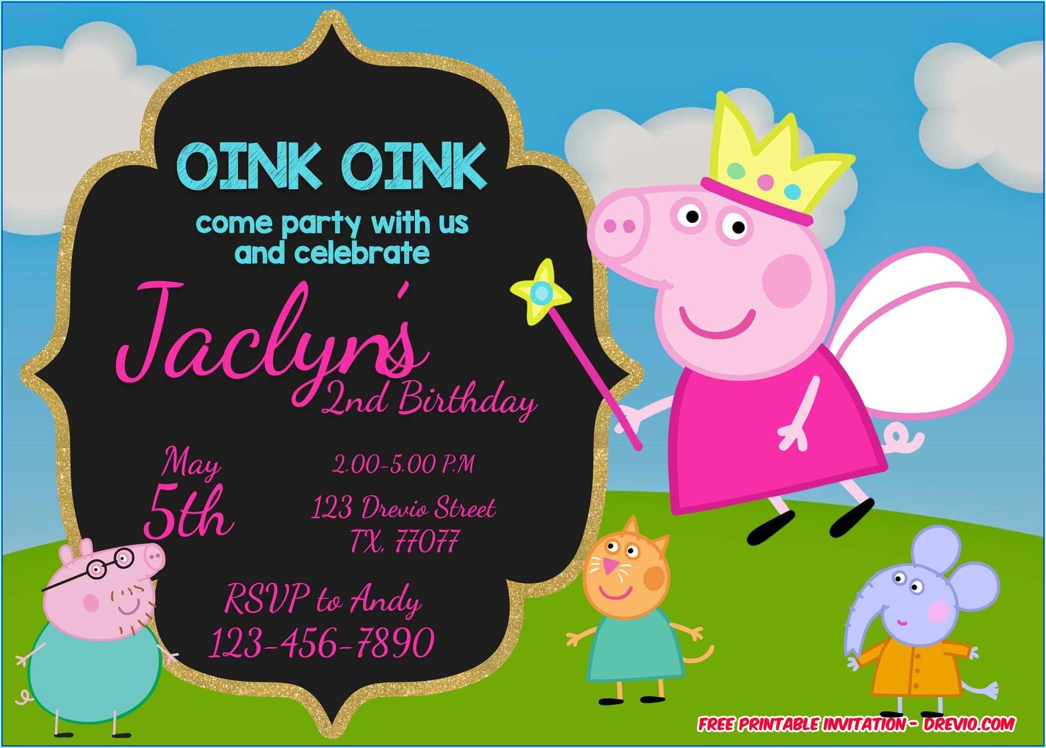 Free Peppa Pig Birthday Invitations