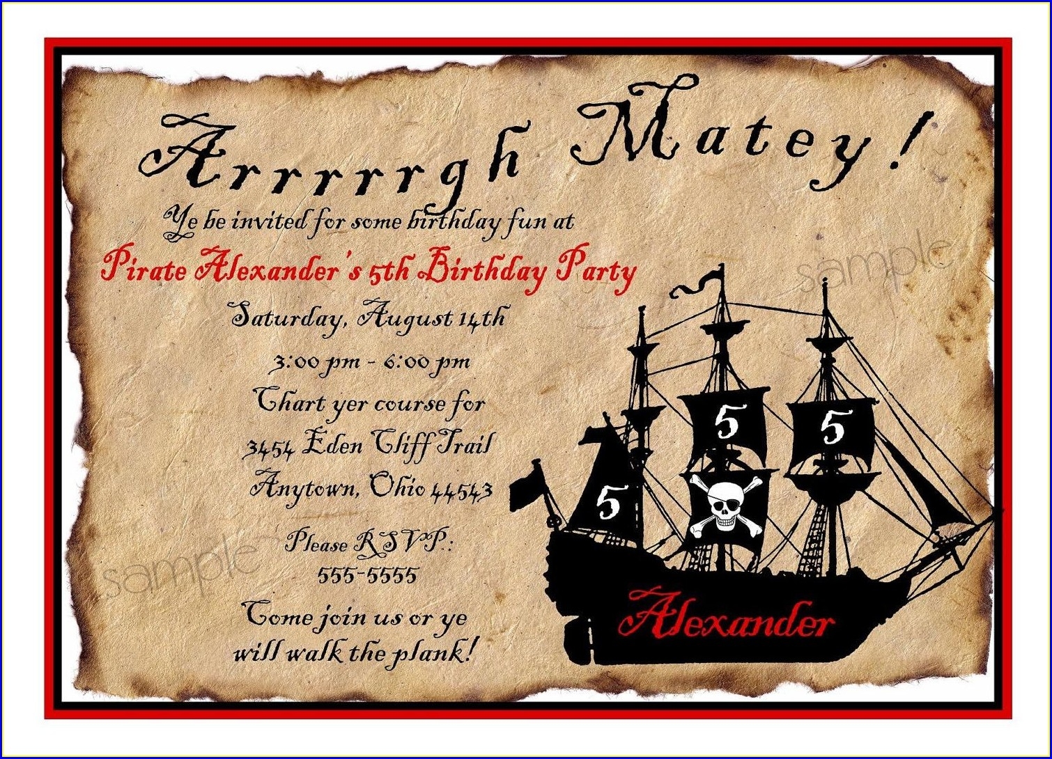 Free Pirate Birthday Invitations
