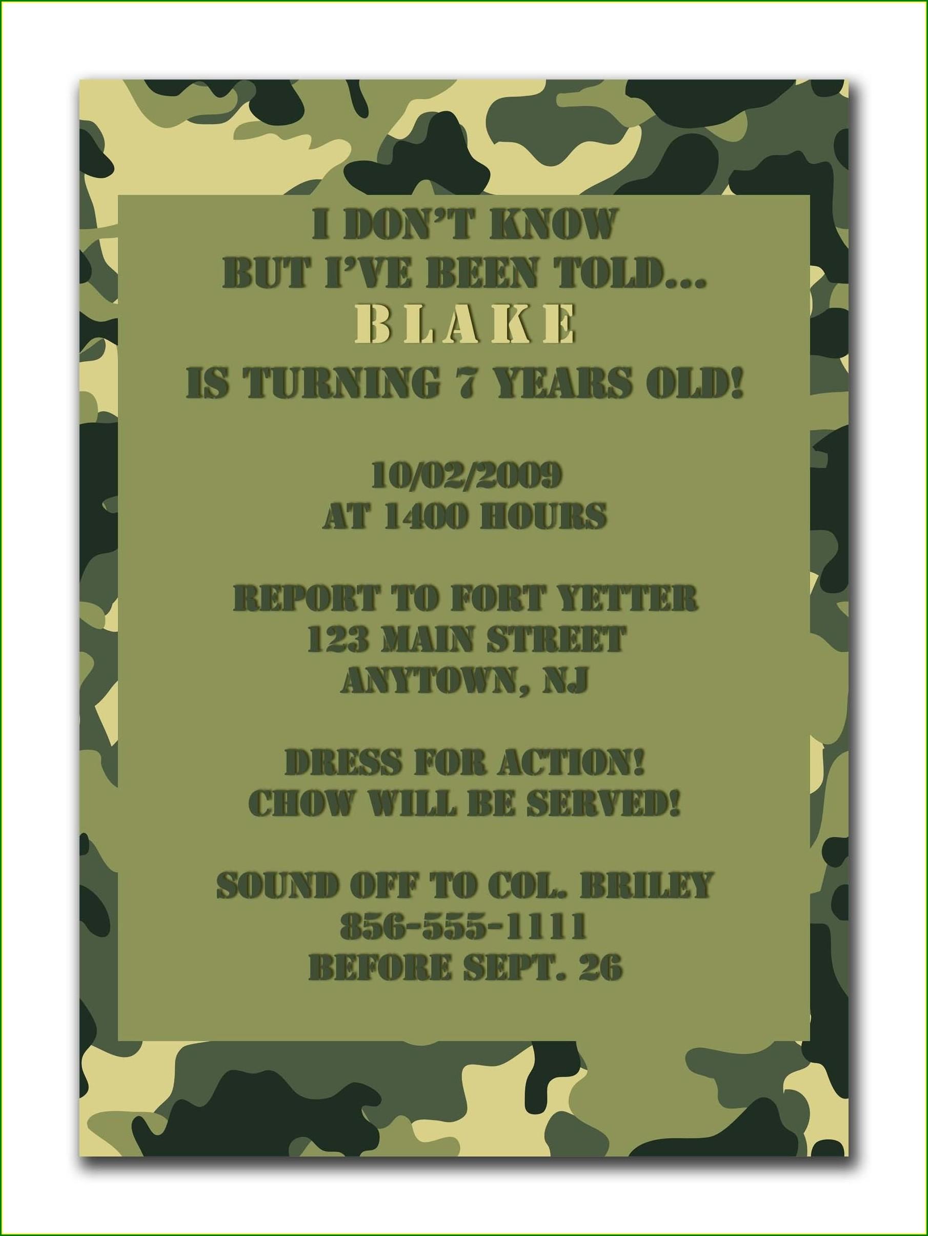 Free Printable Camouflage Birthday Invitations