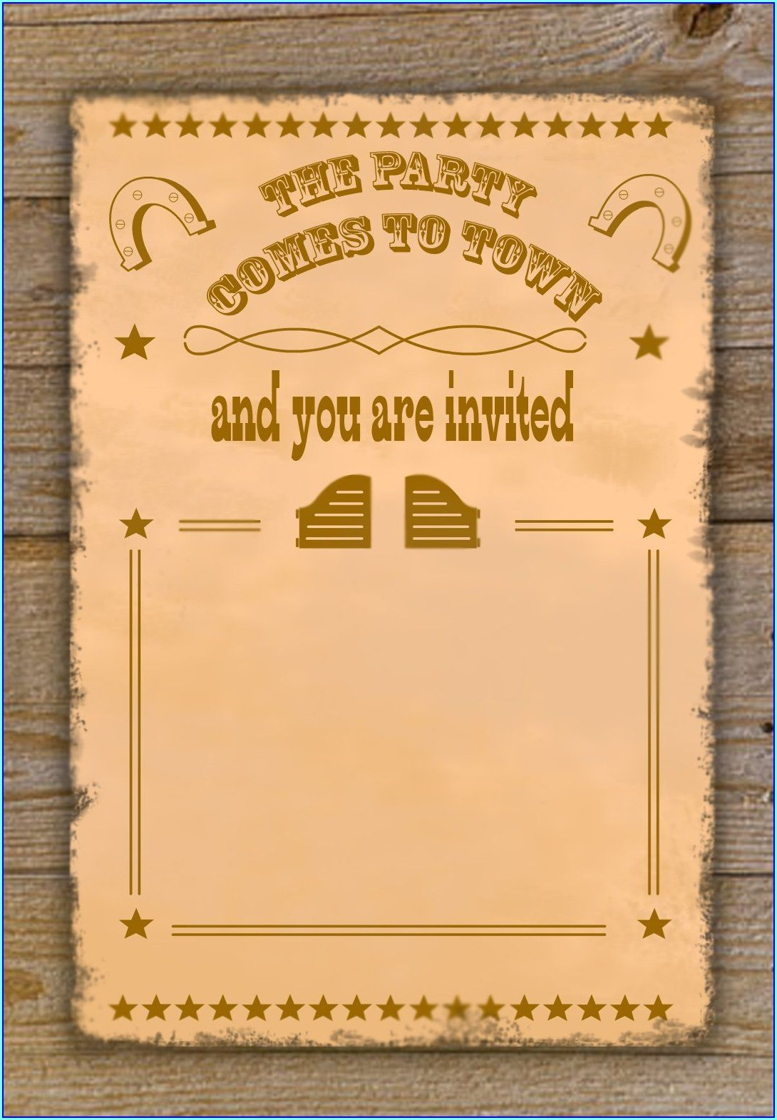 Free Printable Cowboy Invitation Template