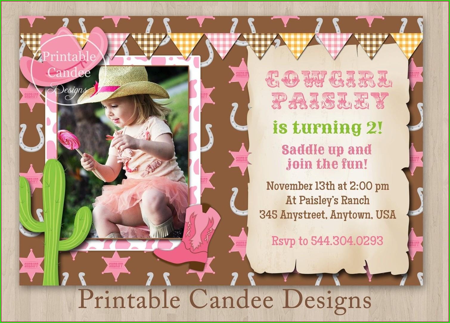 Free Printable Cowgirl Invitation Template