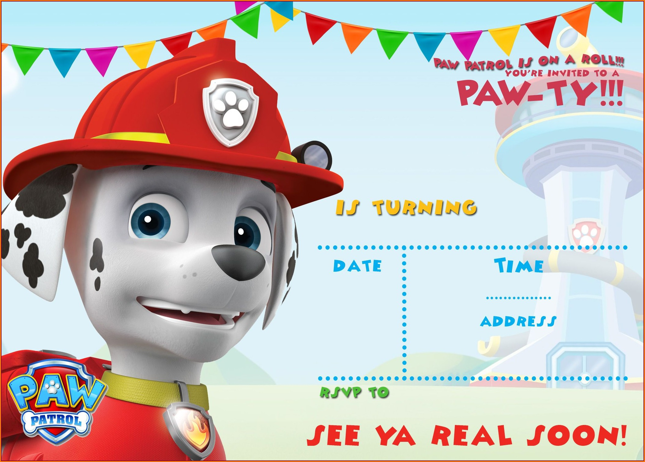 Free Printable Downloadable Free Printable Paw Patrol Invitations