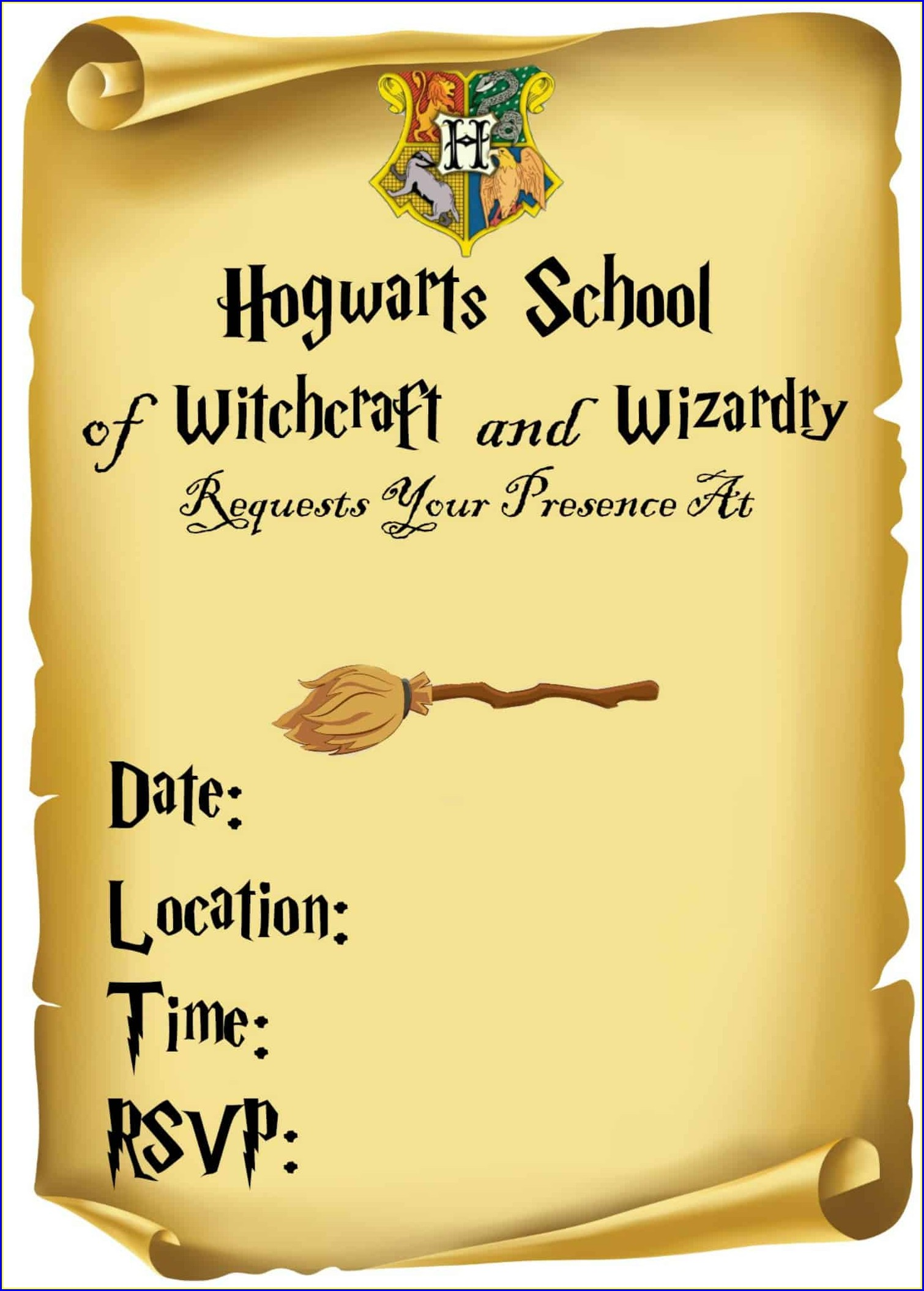 Free Printable Editable Harry Potter Birthday Invitations