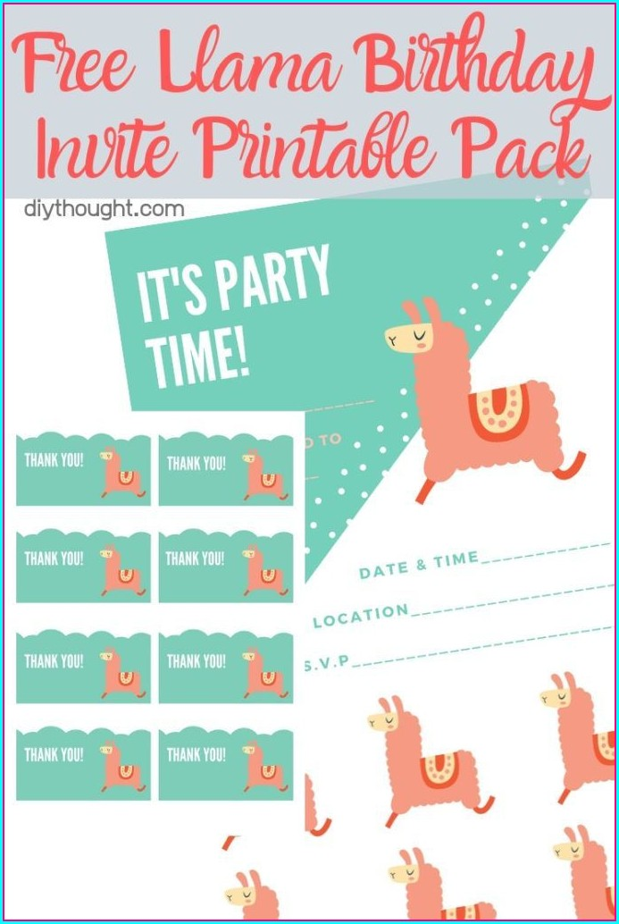 Free Printable Llama Birthday Invitations