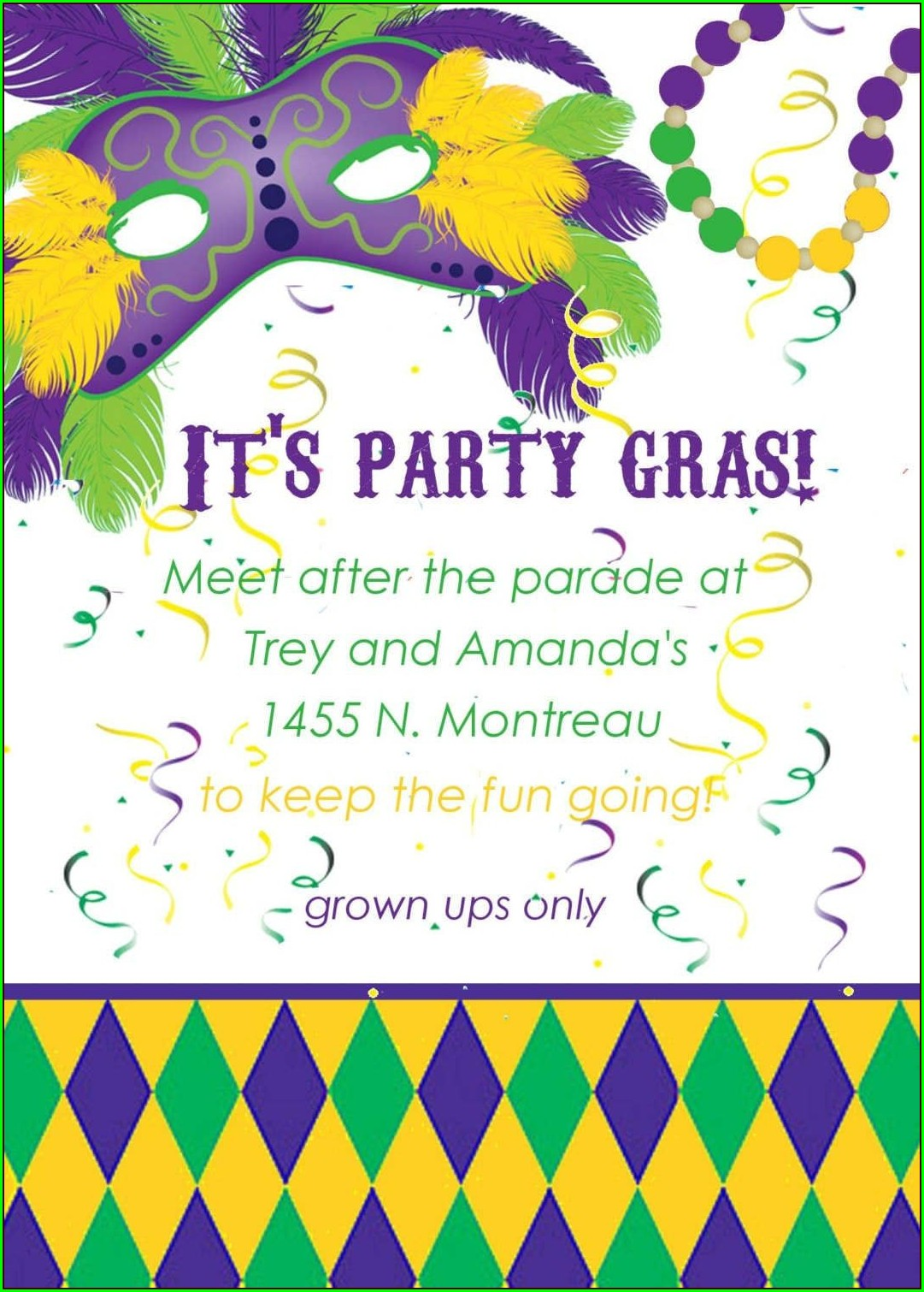 Free Printable Mardi Gras Invitation Template