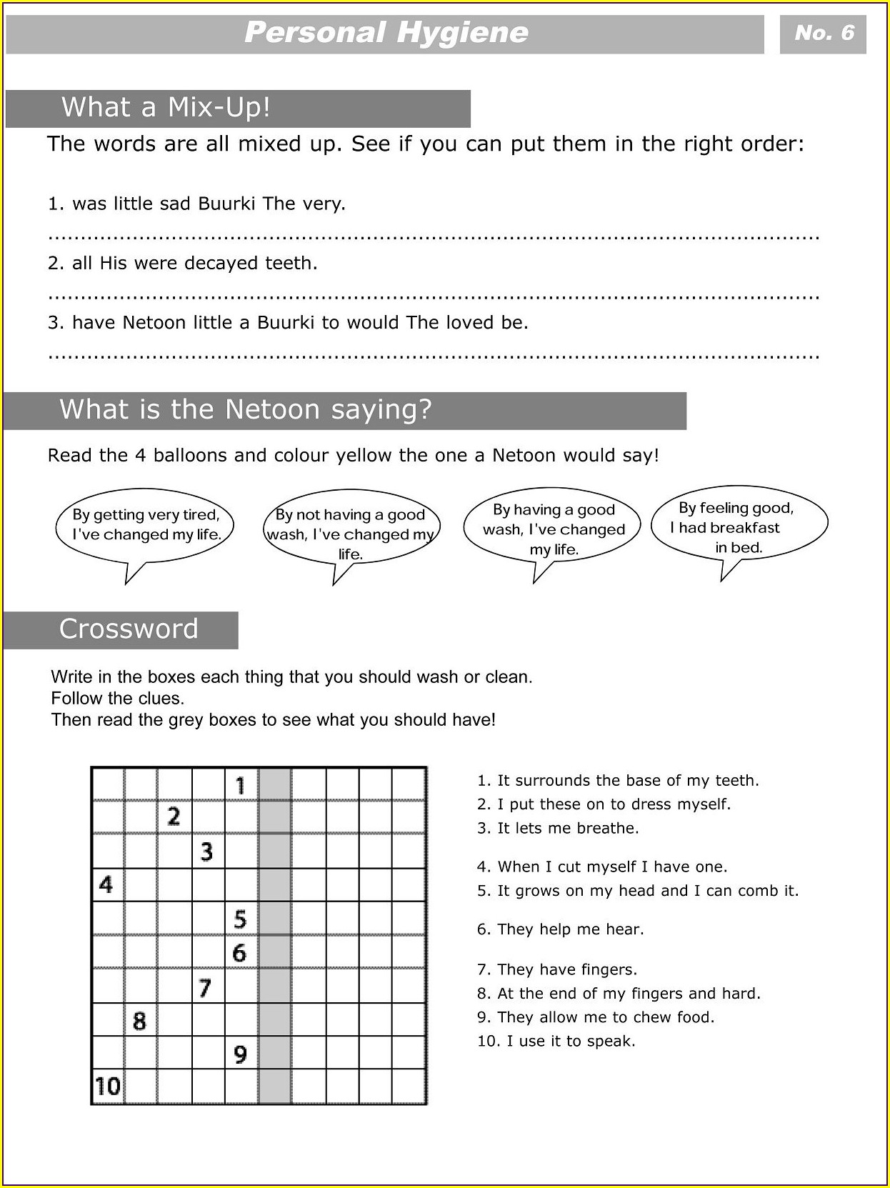 Free Printable Middle School Health Worksheets