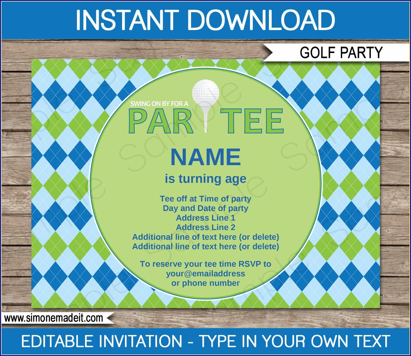 Free Printable Mini Golf Birthday Invitations