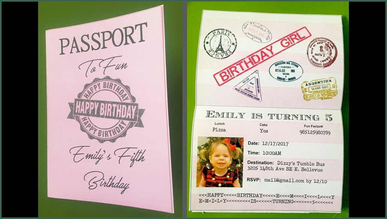 Free Printable Passport Birthday Invitation Template