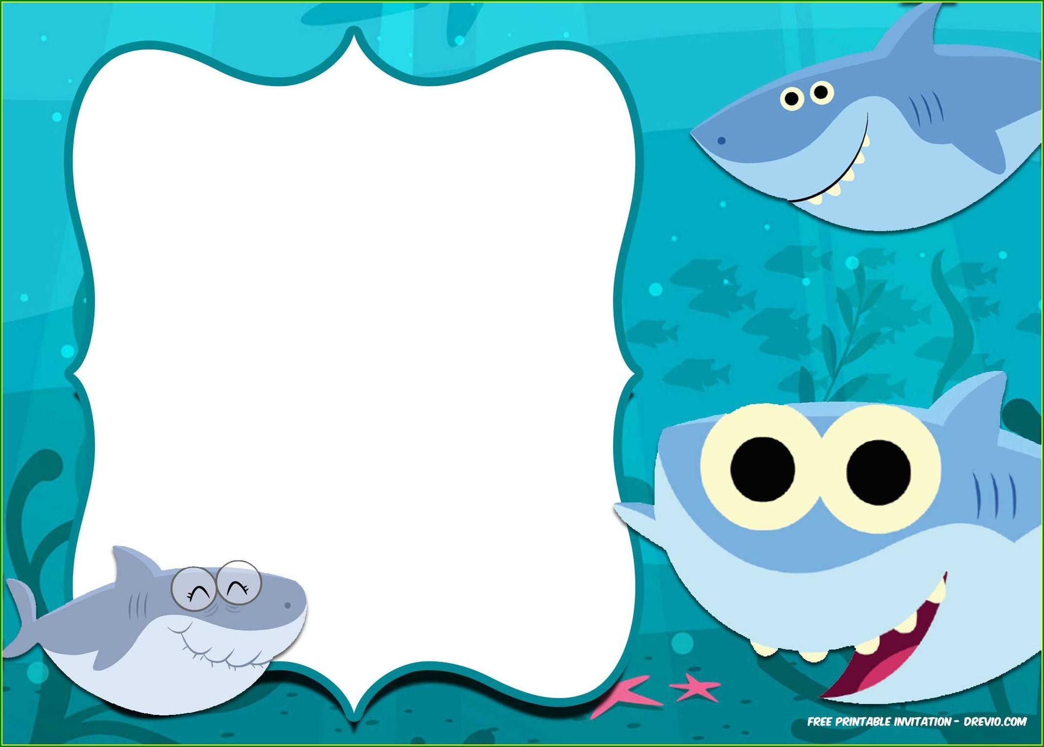 Free Printable Shark Birthday Invitations