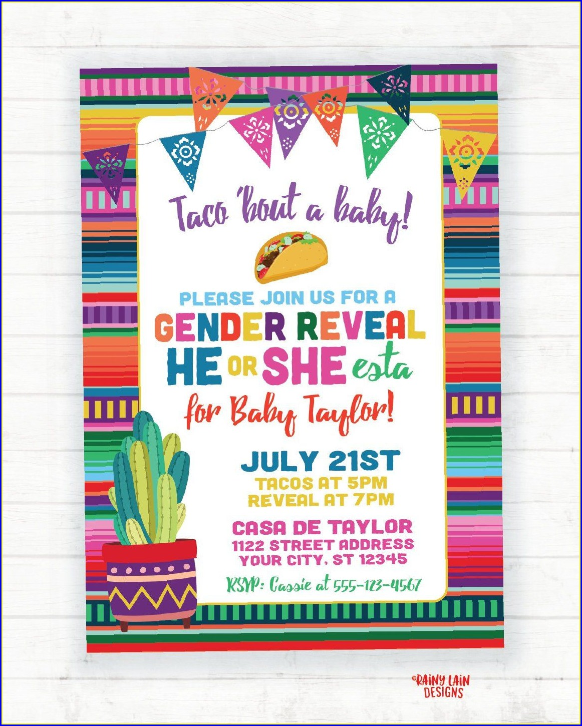 Free Printable Taco Bout A Baby Invitations