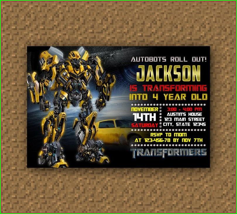 Free Printable Transformer Bumblebee Birthday Invitations