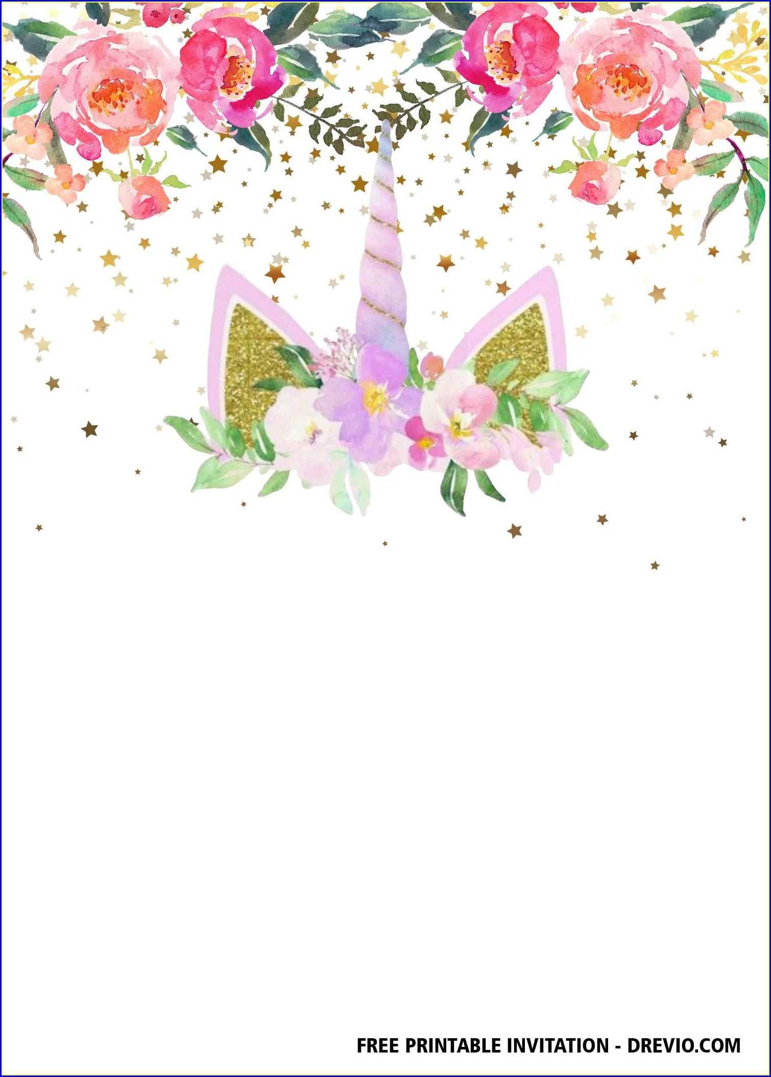 Free Printable Unicorn Invitations Templates