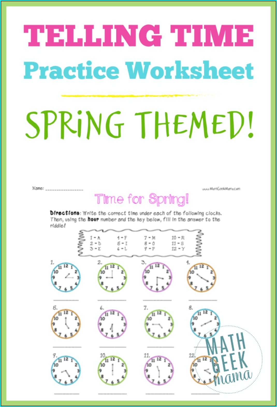 Free Time Practice Worksheets