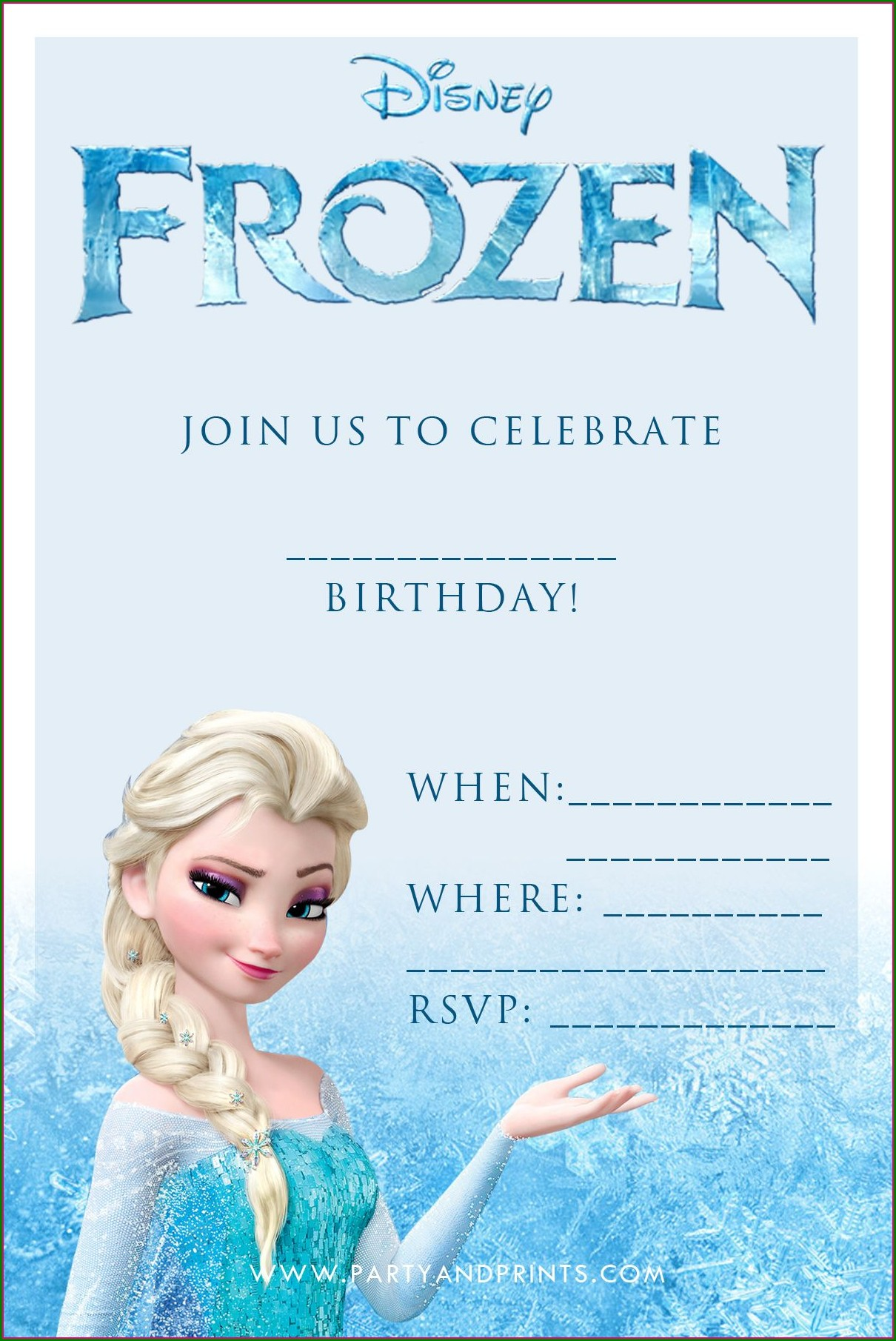 Frozen 7th Birthday Invitation Template
