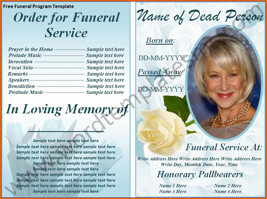 Funeral Program Funeral Invitation Template Free Download