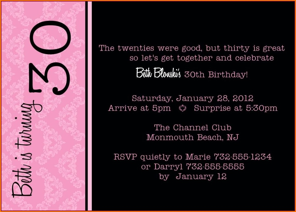 Funny 30th Birthday Invitation Wording Ideas