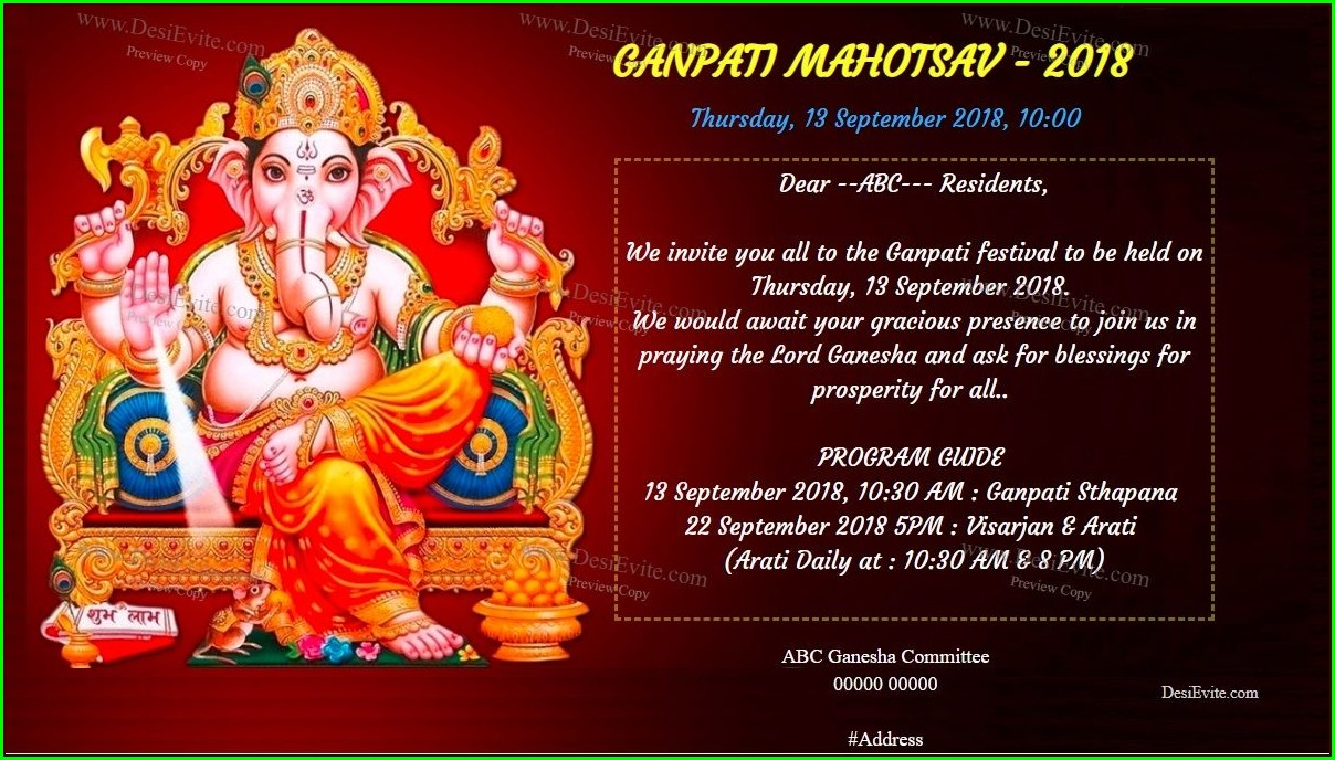 Ganesh Puja Invitation Card
