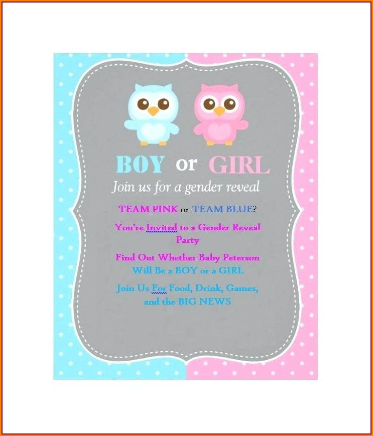 Gender Reveal Online Invitations Free