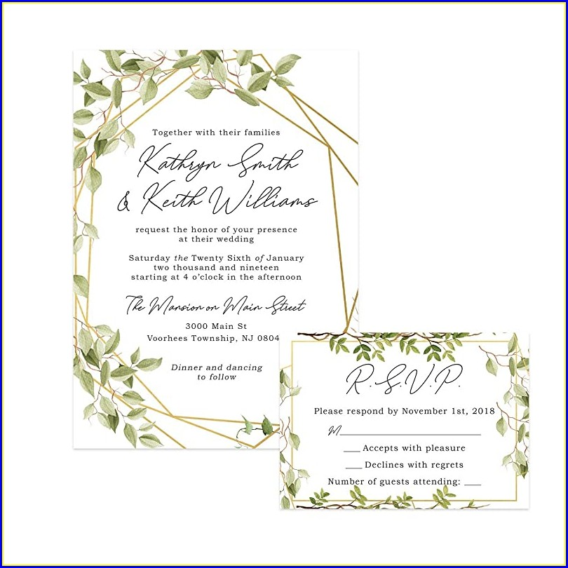 Geometric Greenery Wedding Invitations
