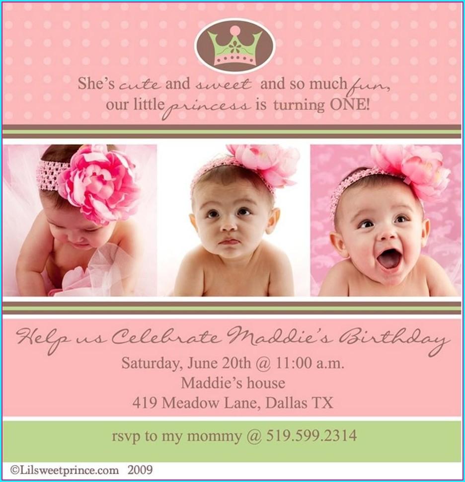 Girls 1st Birthday Invitations