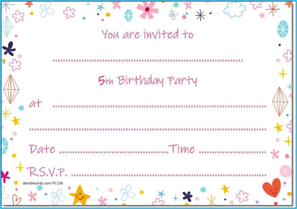 Girls 5th Birthday Invitations