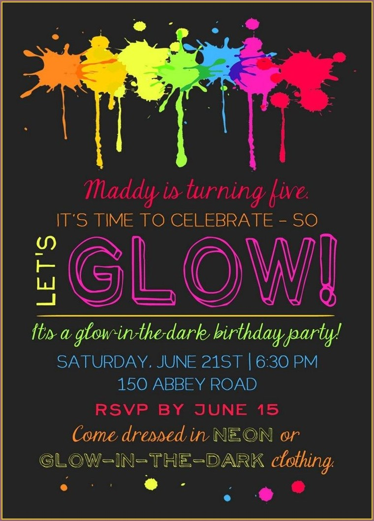Glow In The Dark Sleepover Invitations