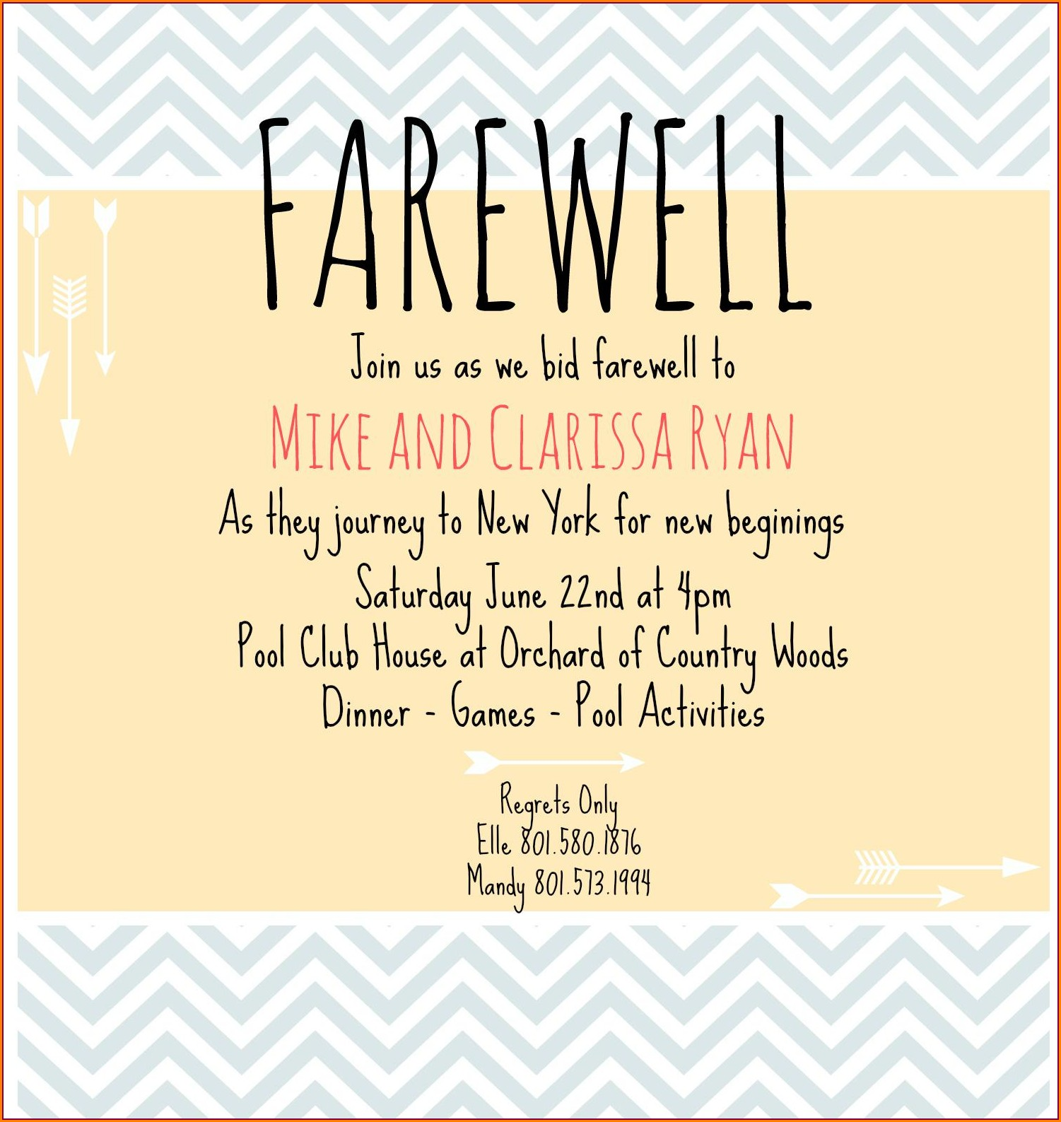 Going Away Invitations Templates