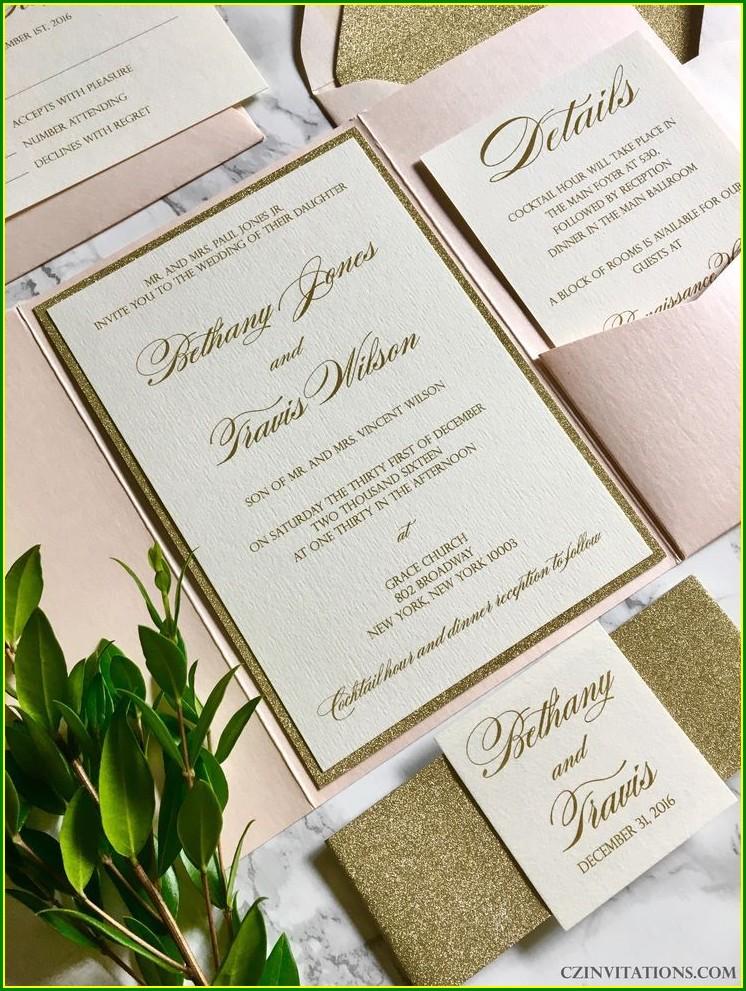 Gold Pocket Wedding Invitations