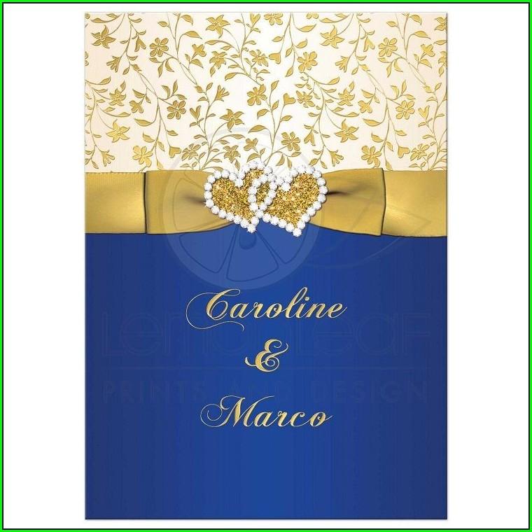 Gold Royal Blue Wedding Invitations
