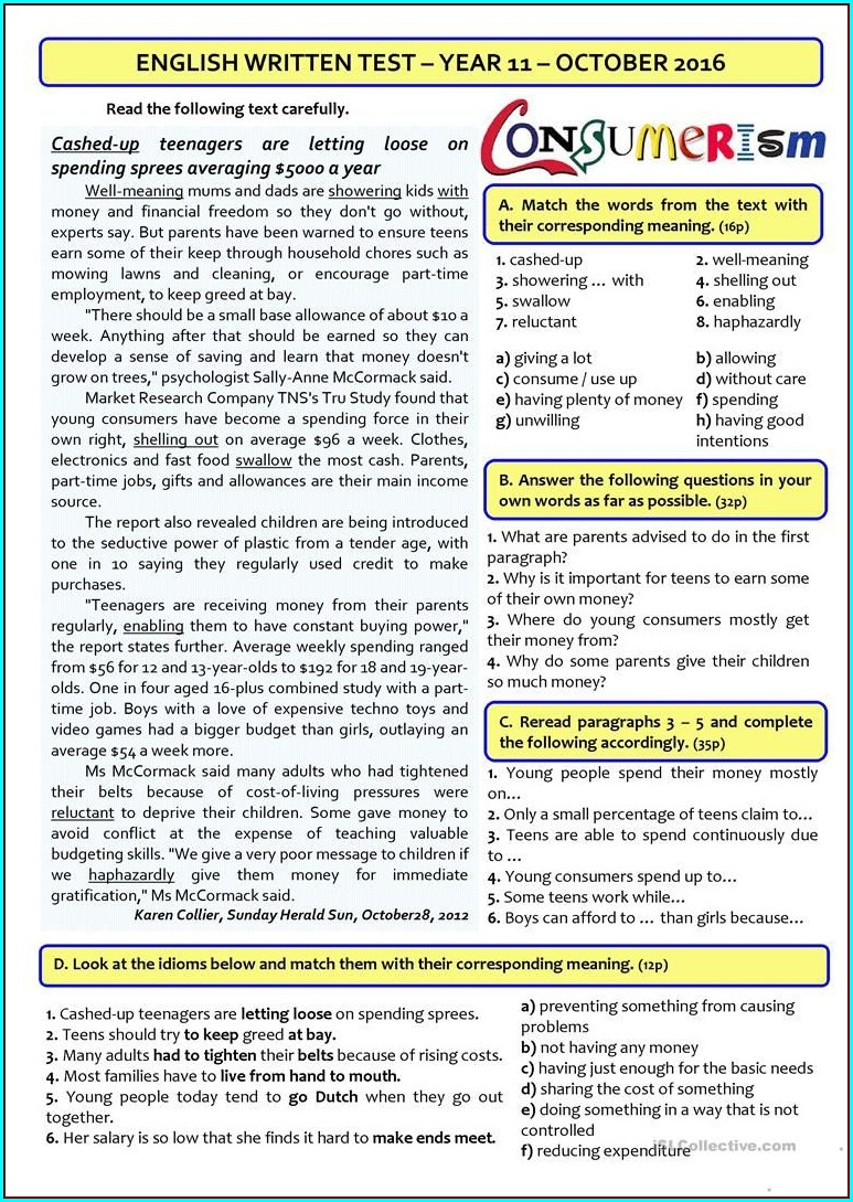 Grade 11 11th Grade English Worksheets