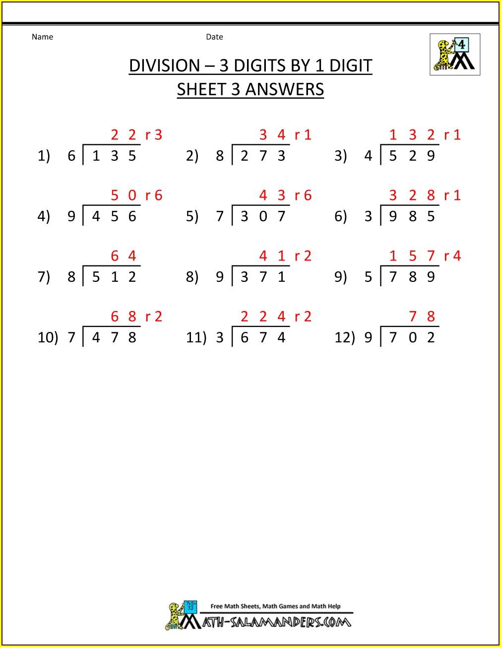 Grade 3 Long Division Worksheet