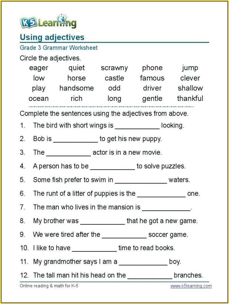 Grade 4 English Worksheets Pdf