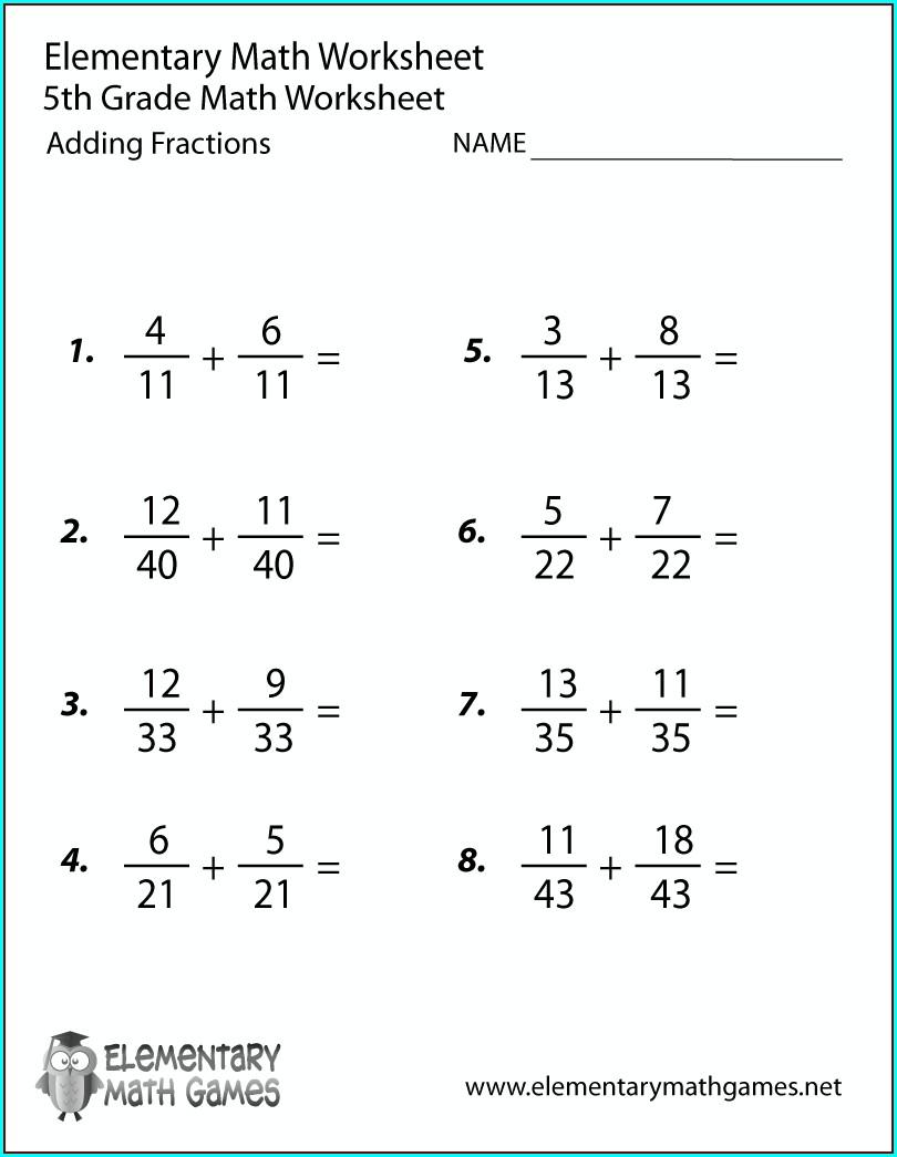 Grade 5 5th Grade Printable Math Games