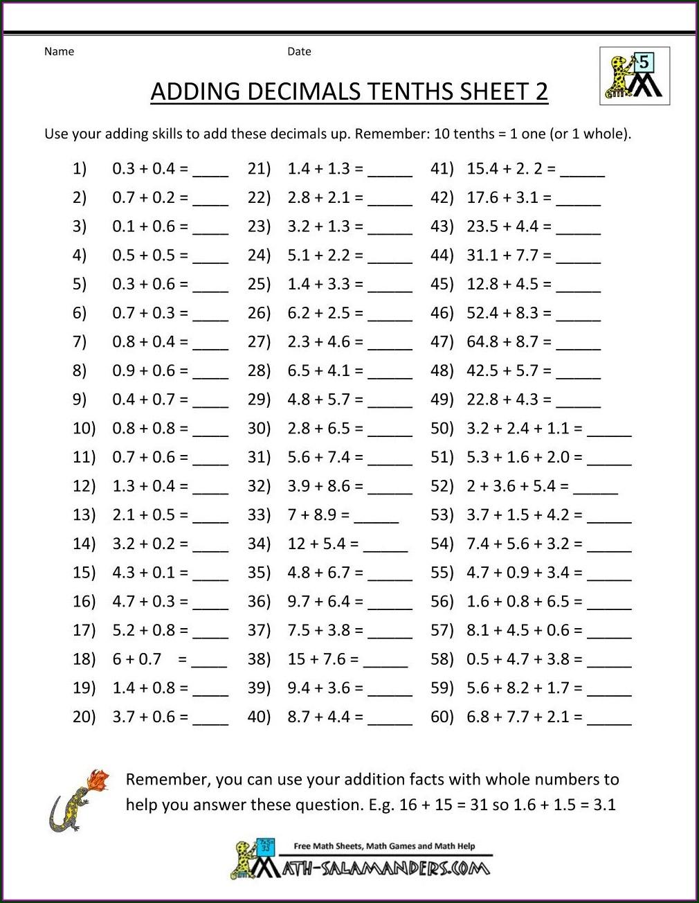 Grade 5 Math Dividing Decimals Worksheets