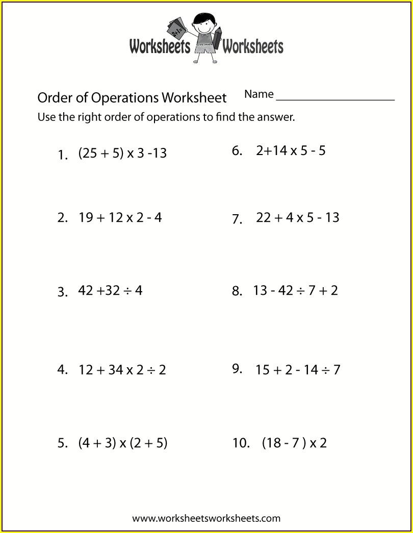 Grade 6 Math Order Of Operations Worksheet