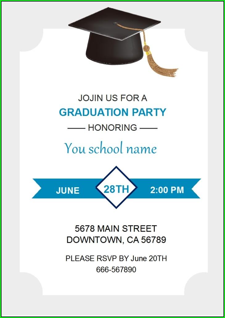 Graduation Invitation Card Template Free Download