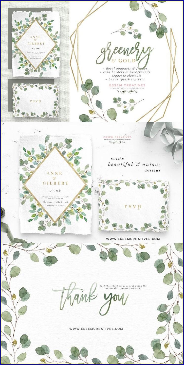 Greenery And Gold Wedding Invitations